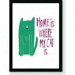 Quadro Poster Pop Art Home Is Cat