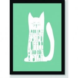 Quadro Poster Pop Art Cat Coffee