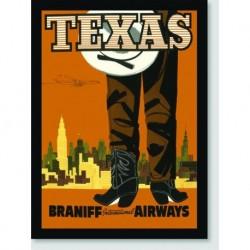 Quadro Poster Propaganda Texas Fly Braniff