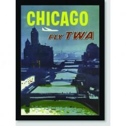 Quadro Poster Propaganda Chicago Fly Twa