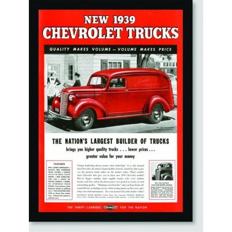 Quadro Poster Propaganda New 1939 Chevrolet Trucks