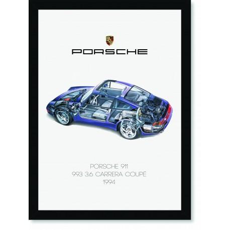 Quadro Poster Porsche 911 1994 993 Carrera Coupe