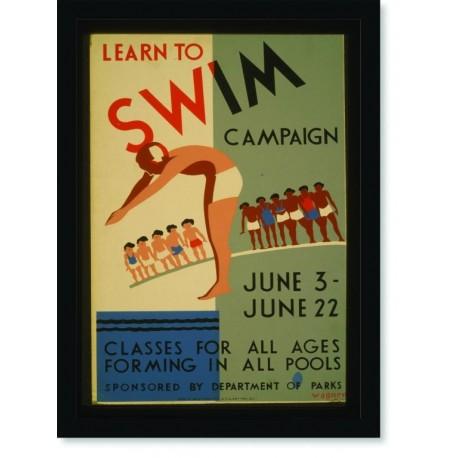 Quadro Poster Esportes Learn to Swim Campaign