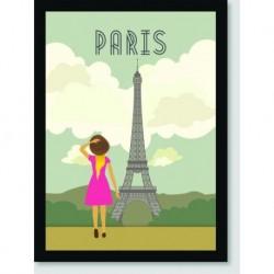 Quadro Poster Pop Art Menina em Paris
