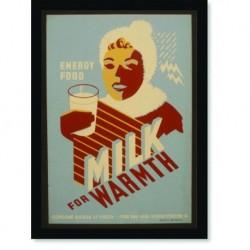 Quadro Poster Propaganda Bebidas Milk for Warmth