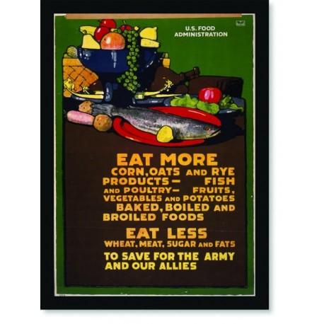 Quadro Poster Propaganda Guerra Eat More Eat Less