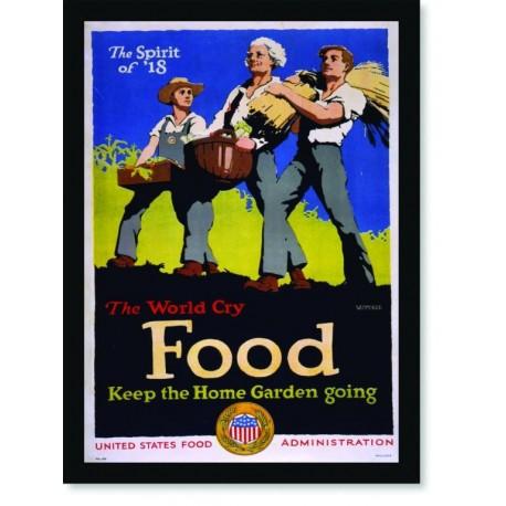 Quadro Poster Propaganda Guerra The World Cry Food