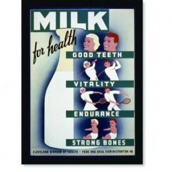 Quadro Poster Propaganda Bebidas Milk for Health