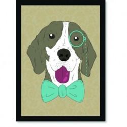 Quadro Poster Pop Art Cachorro gravata borboleta