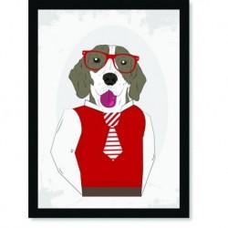 Quadro Poster Pop Art Cachorro gravata