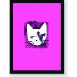 Quadro Poster Pop Art Gato Rosa