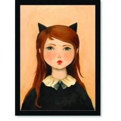 Quadro Poster Pop Art Menina gato