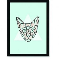 Quadro Poster Pop Art Gato 3 Olhos