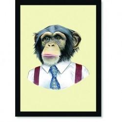 Quadro Poster Pop Art Macaco Gravata