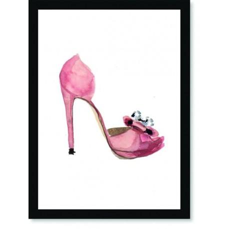 Quadro Poster Pop Art Sapato Rosa