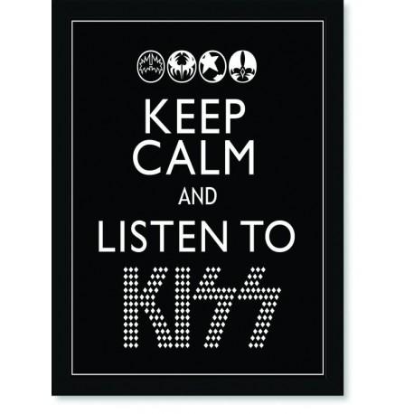 Quadro Poster Art Digital Keep Calm Kiss