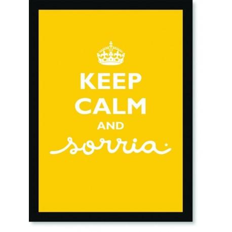 Quadro Poster Frase Keep Calm and Sorria Yellon