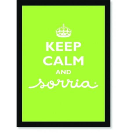 Quadro Poster Frase Keep Calm and Sorria Green