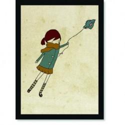 Quadro Poster Pop Art Garota Soltando Passaros