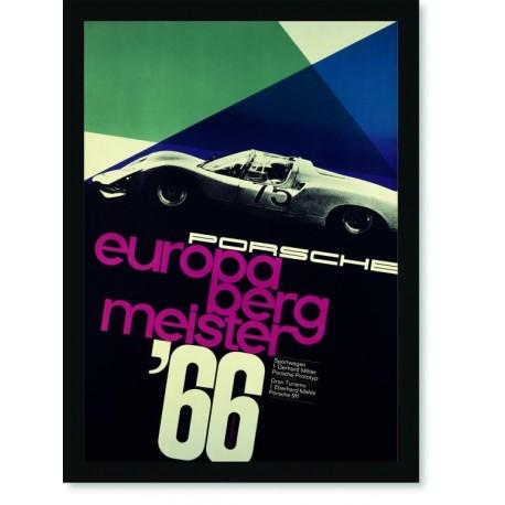 Quadro Poster Carros Porsche Europa Berg Meister 66