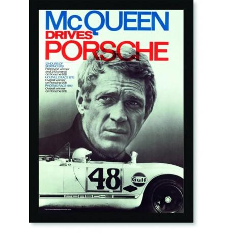Quadro Poster Carros McQueen Drives Porsche