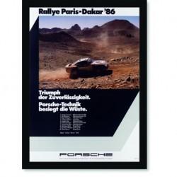 Quadro Poster Carros Porsche Rallye Paris Dakar 86