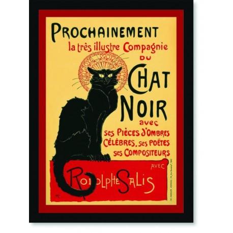 Quadro Poster Cozinha Champagnie Chat Noir