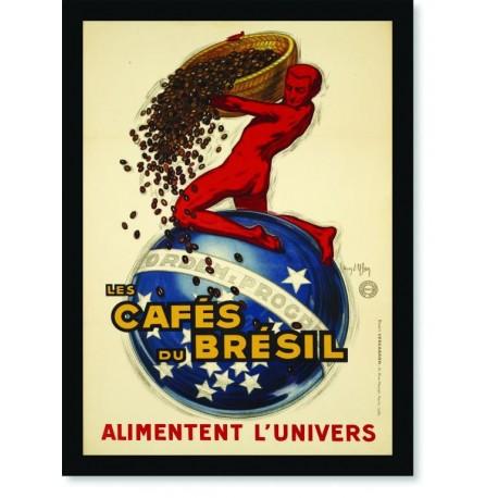 Quadro Poster Cozinha Les Cafes du Bresil
